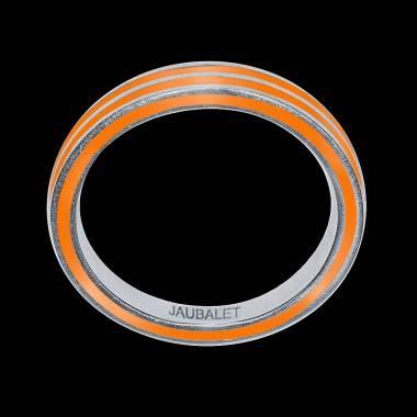 罗马 男士双漆环白K金结婚戒指