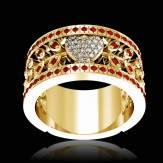 花爱 K金钻石密镶订婚戒指