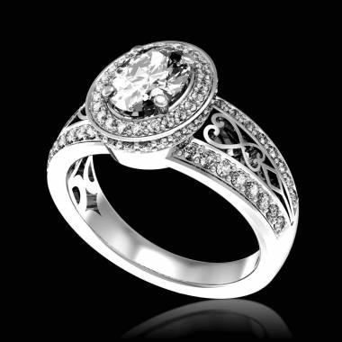女沙皇K金钻石密镶订婚戒指