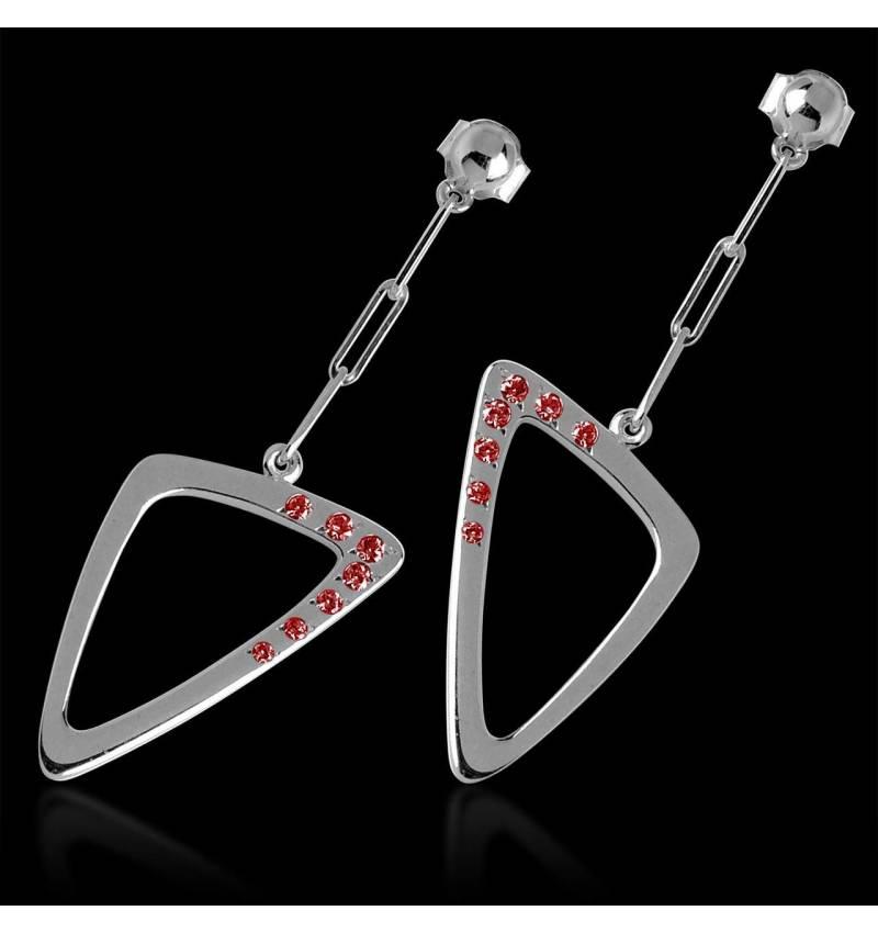 三维 红宝石耳环