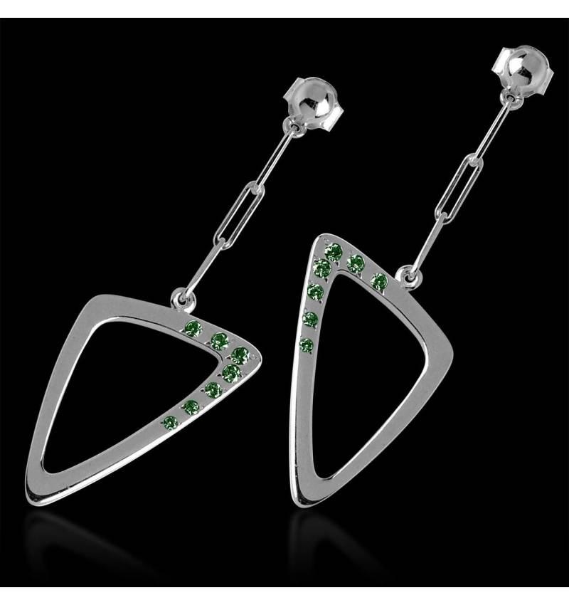 三维 祖母绿耳环