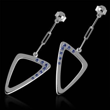 三维 蓝宝石耳环