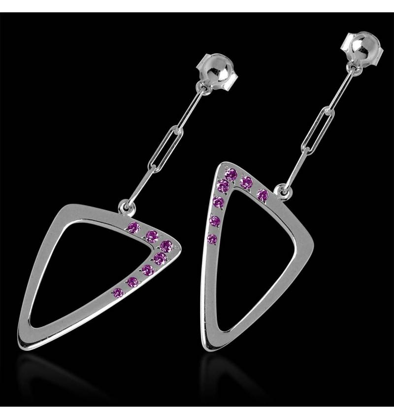 三维 粉红蓝宝石耳环