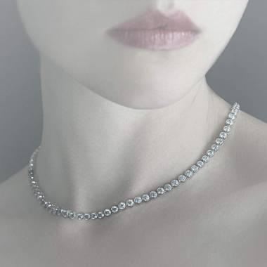 明珠粉红蓝宝石项链