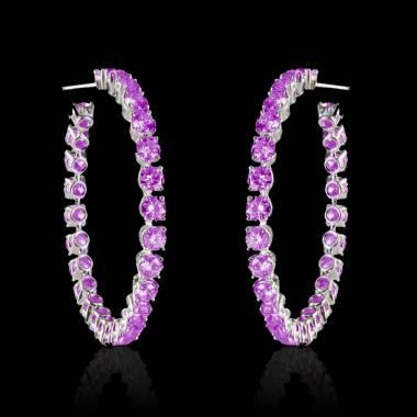 克里奥尔 粉红蓝宝石耳环