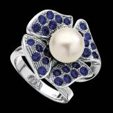 永恒之花黑珍珠钻石密镶订婚戒指
