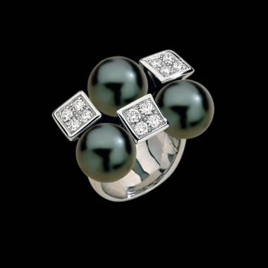 群岛黑珍珠密镶钻石订婚戒指