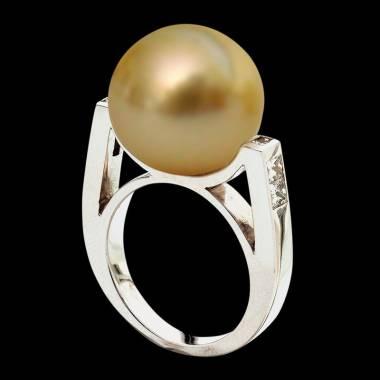 波拉公主金珍珠密镶钻石订婚戒指