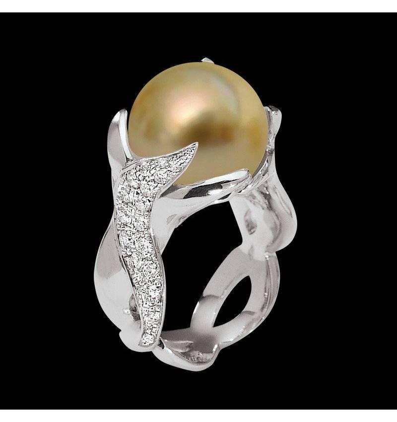 水神金珍珠戒指