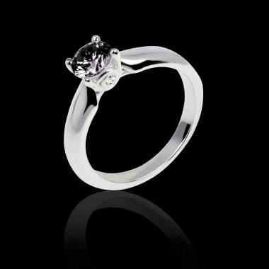 Motherhood白18K金 单颗黑钻戒指