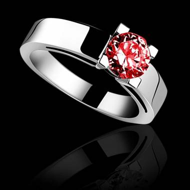 CélineK金单颗红宝石戒指