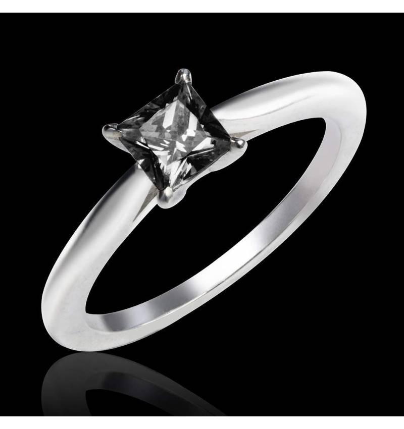 My Love K金单颗黑钻石戒指