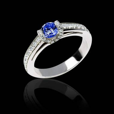 Hera白18K金群镶钻石 蓝宝石戒指