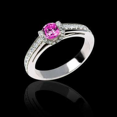 Hera白18K金群镶钻石 粉红蓝宝石戒指