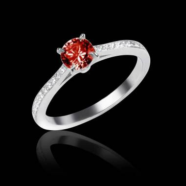 Elodie 白18K金红宝石订婚戒指 群镶钻石
