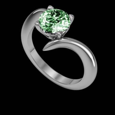 蛇纹 K金祖母绿订婚戒指