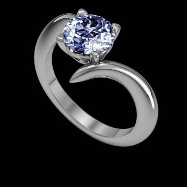 蛇纹 K金蓝宝石订婚戒指