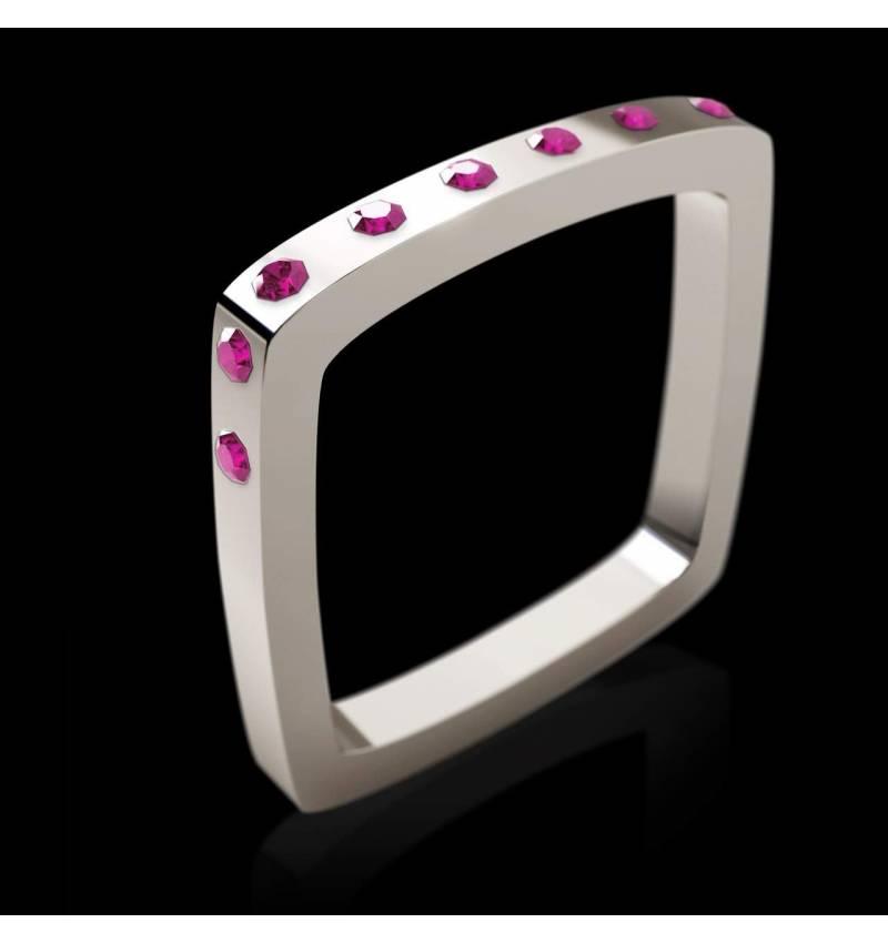 Square 粉红蓝宝石戒指