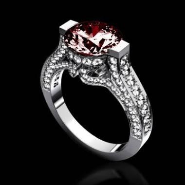 奥林匹斯山脉K金红宝石密镶钻石订婚钻戒