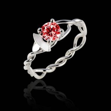 Vigne K金红宝石订婚戒指