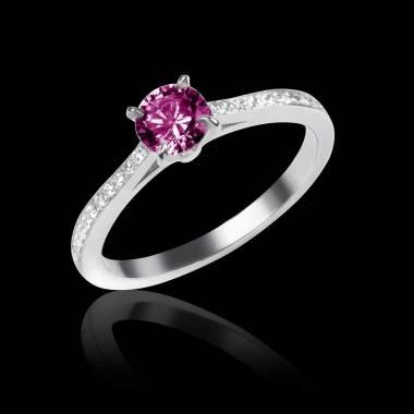 Elodie 白18K金粉红蓝宝石订婚戒指 群镶钻石