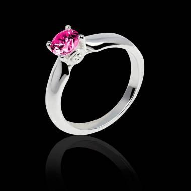 Motherhood白18K金 单颗粉红蓝宝石戒指