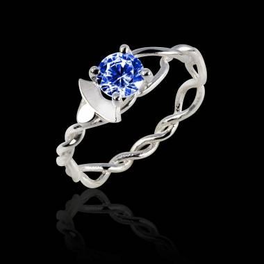 Vigne K金蓝宝石订婚戒指