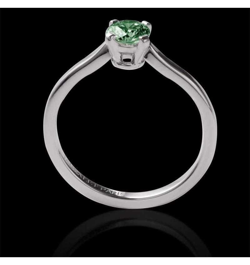 Vanessa solo 18k金单颗圆形祖母绿订婚戒指