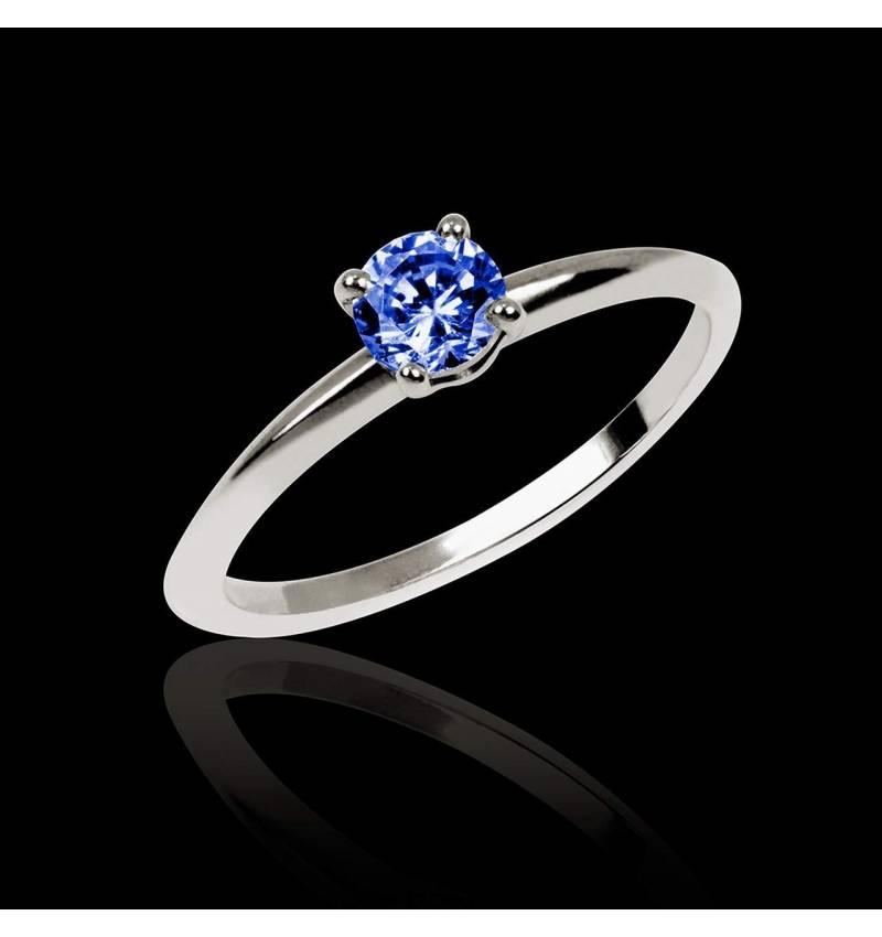 Valentina K金单颗蓝宝石戒指