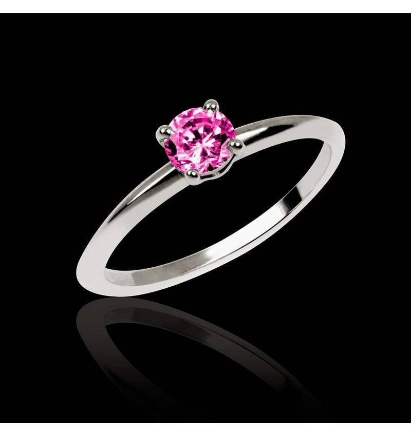 Valentina K金单颗粉红蓝宝石戒指
