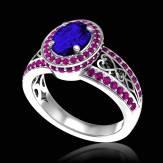 女沙皇 K金蓝宝石密镶钻石订婚戒指