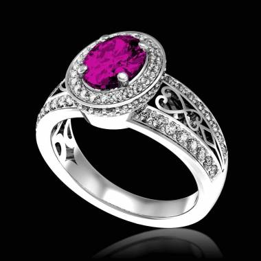 女沙皇 K金粉红蓝宝石密镶钻石订婚戒指