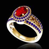 女沙皇 K金红宝石密镶钻石订婚戒指