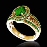 女沙皇 K金祖母绿密镶钻石订婚戒指
