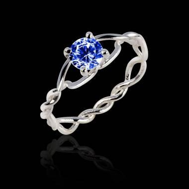 绫绕 K金单颗蓝宝石戒指