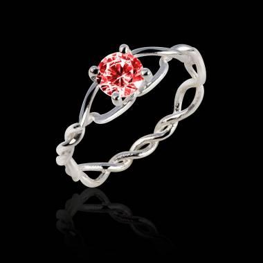 绫绕 K金单颗红宝石戒指