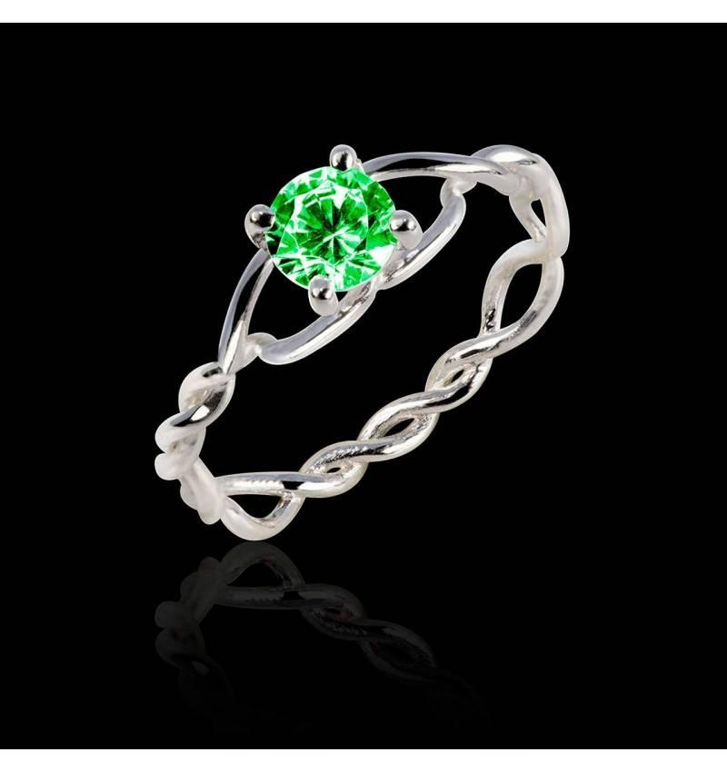 绫绕 K金单颗祖母绿戒指