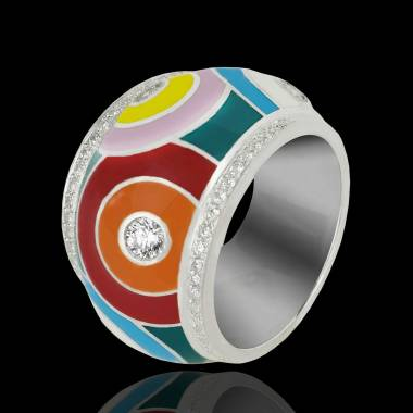 Color Pop K金上漆密镶钻石戒指