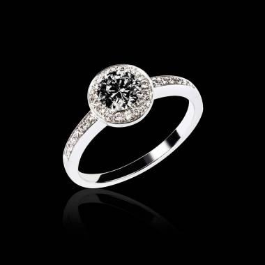 瑞卡 K金密镶钻石 镶嵌黑钻订婚戒指
