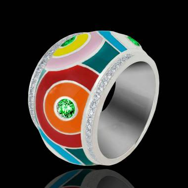 Color Pop 祖母绿密镶钻石 戒指