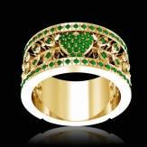 花爱 祖母绿订婚戒指