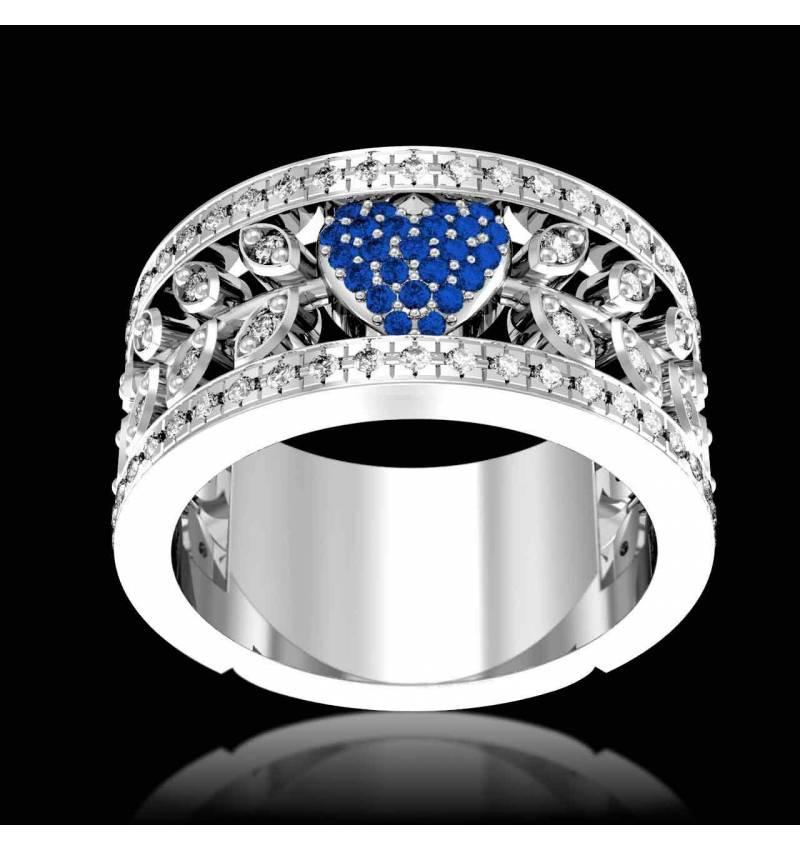 花爱 蓝宝石订婚戒指