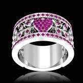 花爱 粉红蓝宝石订婚戒指