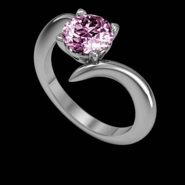 蛇纹 K金粉红蓝宝石订婚戒指