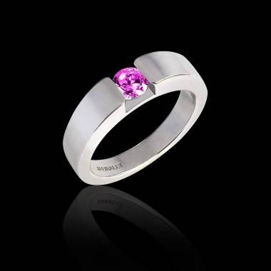 Pyramide 白18K金圆形粉红蓝宝石订婚戒指