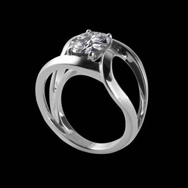 Future solo K金单颗圆形密镶钻石戒指