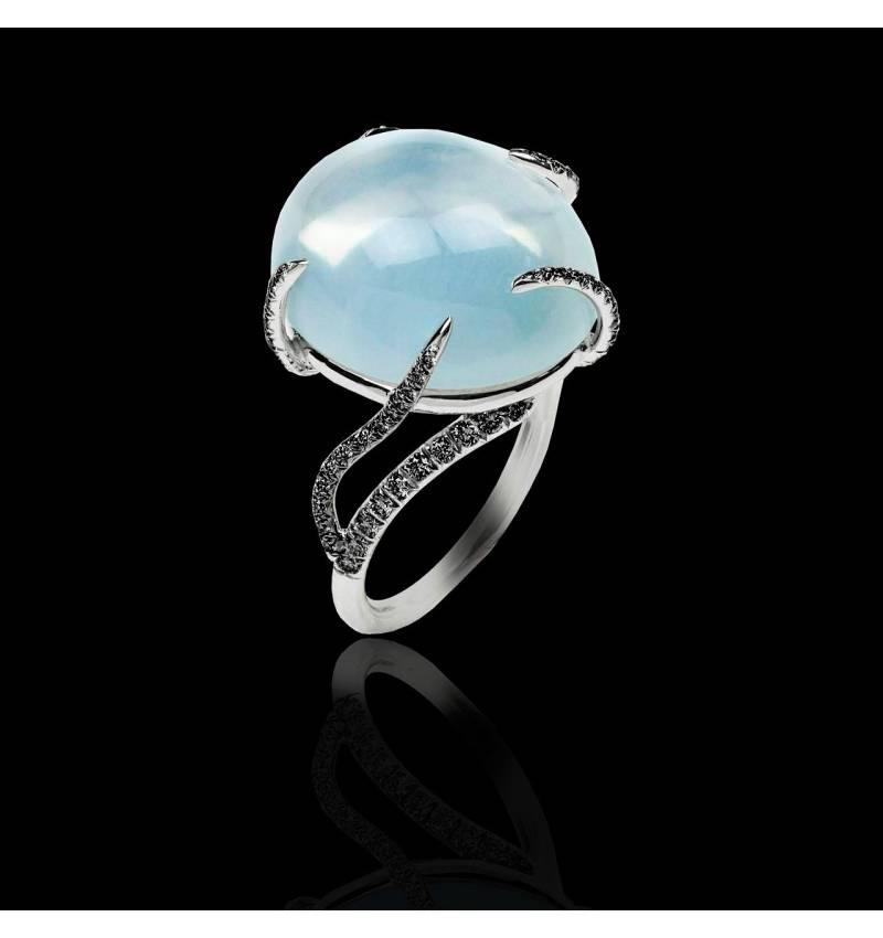 月之石 黑钻戒指
