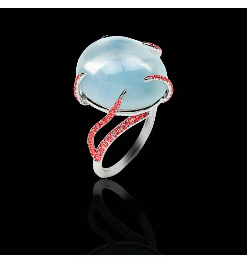 月之石 红宝石戒指