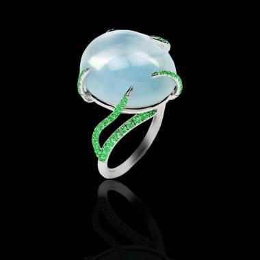 月之石 祖母绿戒指