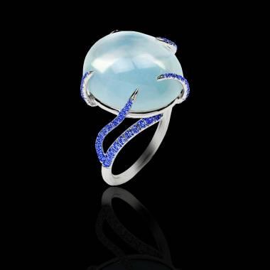 月之石 蓝宝石戒指